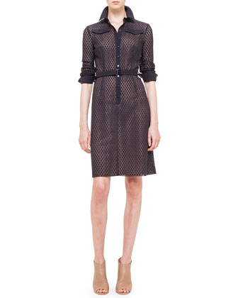 Punto-Lace Snap-Front Shirtdress, Noir