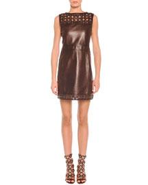 Laser-Cut Leather Sheath Dress