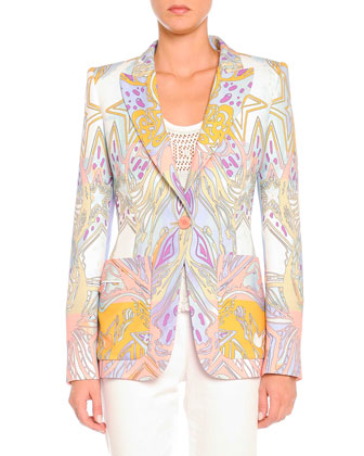 Wings and Stars Printed Blazer