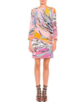 Long-Sleeve Feather-Print Cady Dress