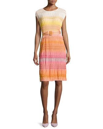 Ombre Textured Knit Belted Dress, Orange
