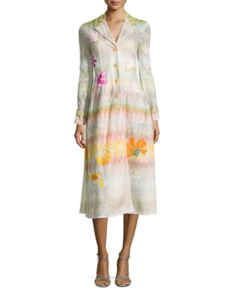 Beaded Floral-Applique Zigzag Long Coat, Pink Multi