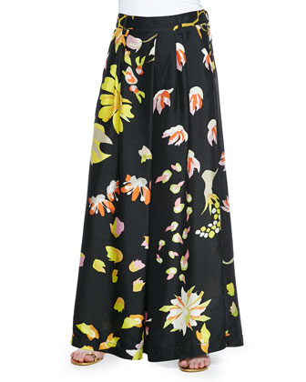 Floral-Print Silk Palazzo Pants