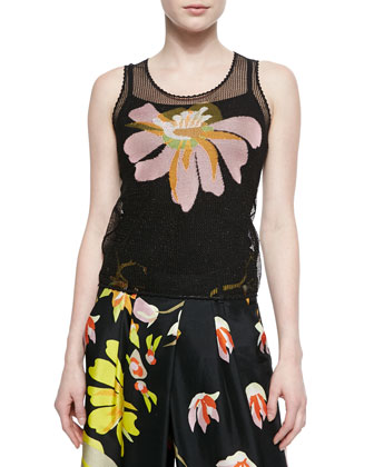 Open-Knit Tank with Intarsia Design