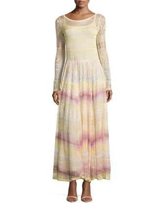 Scoop-Neck Zigzag-Knit Long Dress, Pink Multi