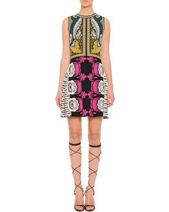 Mixed-Print Sleeveless Dress