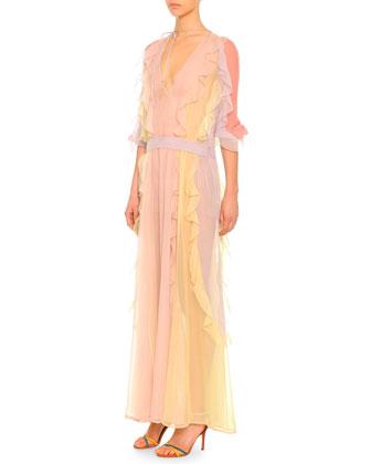 3/4-Sleeve Ruffled Silk Chiffon Dress