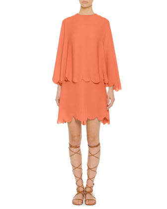 Scalloped Tiered Capelet Dress, Coral