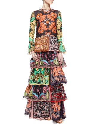 Patchwork-Print Ruffle-Tiered Dress