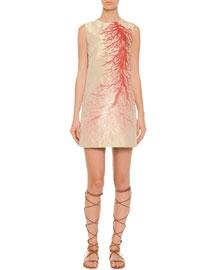 Sleeveless Coral Intarsia A-Line Dress