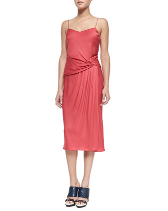 Draped-Side Slip Dress