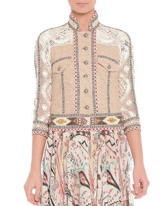 Lace Mixed-Fabric Beaded Jacket