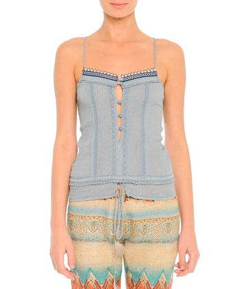 Lace-Trim Beaded Camisole, Blue