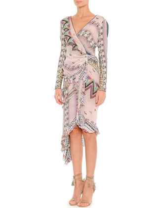 Ribbon-Print Asymmetric Long-Sleeve Wrap Dress