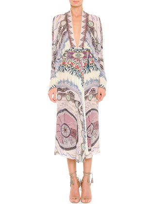 Dreamcatcher-Print Silk Balloon-Sleeve Dress