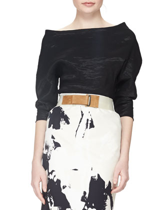 Structured Bateau-Neck Top, Black