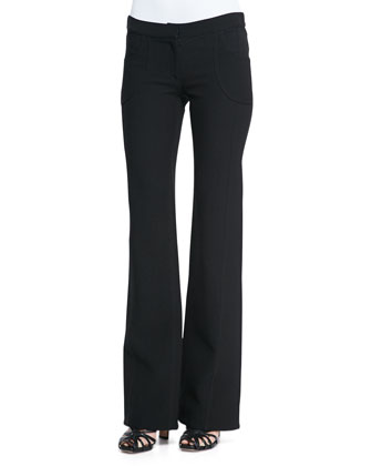 Flare-Leg Front-Pocket Trousers, Black