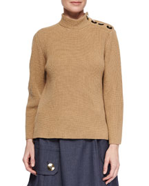 Cashmere-Blend Military Rib-Knit Sweater