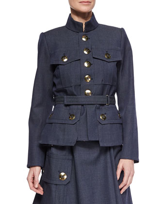 Four-Pocket Military Button Jacket