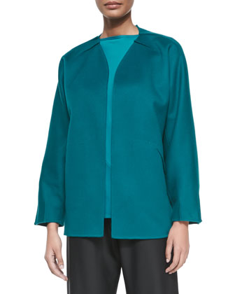 Cashmere-Blend Tuck-Pleated Jacket, Teal