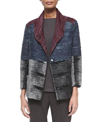 Colorblock Crinkled Velvet Jacket