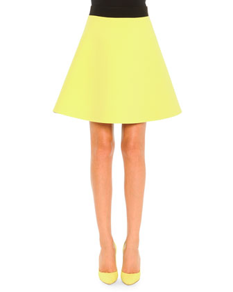 Two-Tone A-Line Skirt, Lime/Black