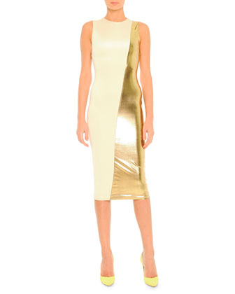 Sleeveless Half-Gold Lame Front Midi Dress, Ivory/Gold