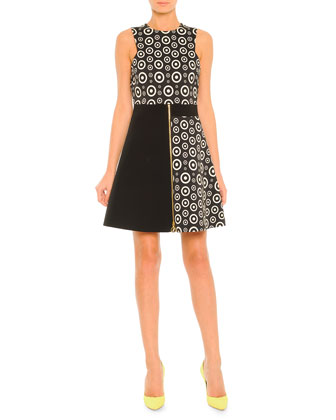 Colorblock Circle-Print Zip Dress, Black