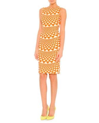 Jewel-Neck Geometric-Print Dress, Orange