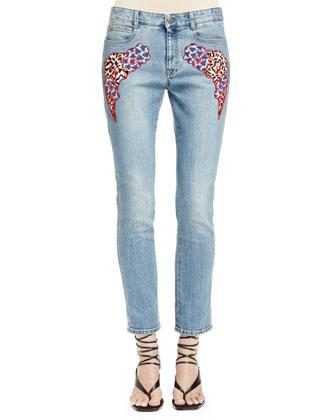 Skinny Boyfriend Jeans with Appliqu??s