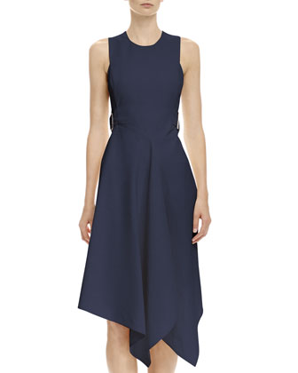 Open-Back Tabbed Asymmetric Dress, Navy
