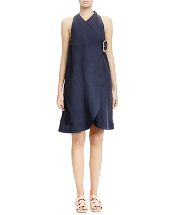 Buckled A-Line Wrap Dress, Navy