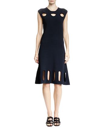 Cutout-Trim Cap-Sleeve Dress