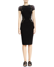 Mesh-Inset Floral Embroidered Sheath Dress, Black