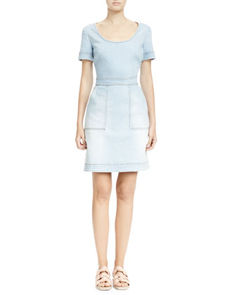 Scoop-Neck Denim Crisscross Dress, Sun Faded Blue