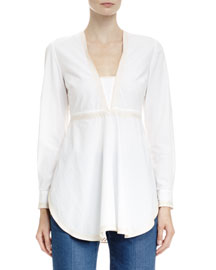 V-Neck Top with Embroidered Trim