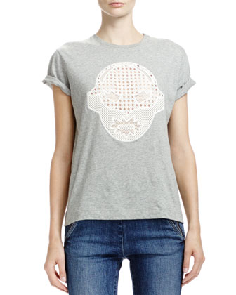 T-Shirt with Superhero Lace Appliqu??