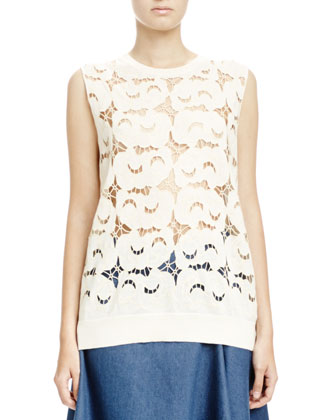 Sleeveless Lace-Front Tee
