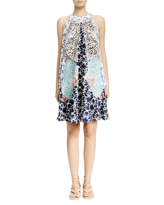 Cloud-Embroidered Multilayered Halter Dress, White Multi