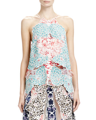 Floral-Print Multilayered Halter Top, White/Scarlet