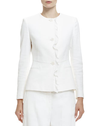 Button-Front Ruffle-Trimmed Jacket