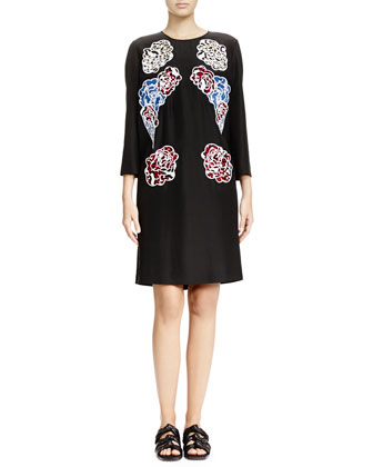 Floral-Print Applique Shift Dress, Black