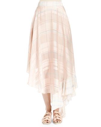Silk Plaid Full Ruffle Skirt