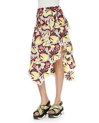 Floral-Print Eyelet-Trim Asymmetric Skirt, Orange/Red