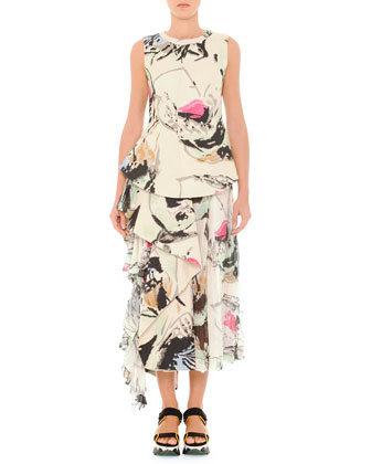 Abstract Printed Top with Side Flounce