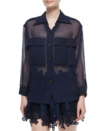 Sheer Paneled Button-Front Blouse, Deep Navy