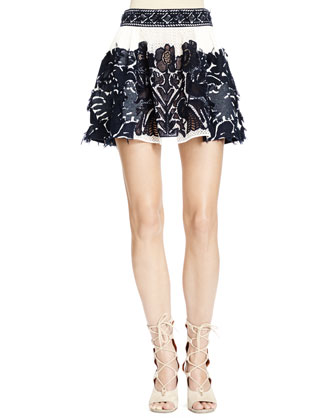 Folkloric Patched Lace Skirt, Navy/White (Runway Version)