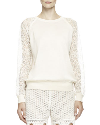 Embroidered Lace-Inset Top