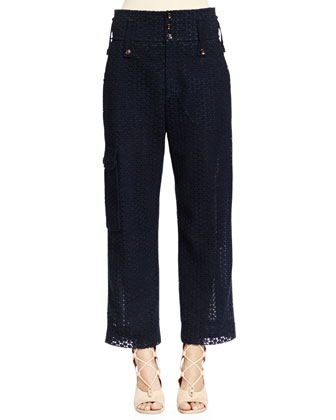 Eyelet Guipure Lace Wide-Leg Pants, Deep Navy