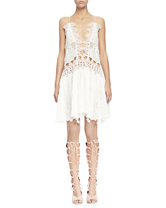 Peacock-Embroidered Open-Front Shift Dress, Milk